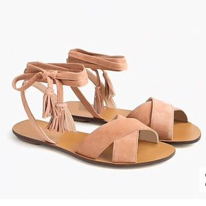 J. Crew Lace Up Suede Sandals Tassels Tan Nude
